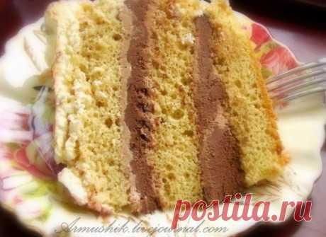 Высокий, нежный бисквит для торта (без духовки).