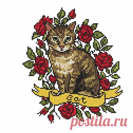 Cat cross stitch pattern PDF/ cat needlepoint counted chart | Etsy