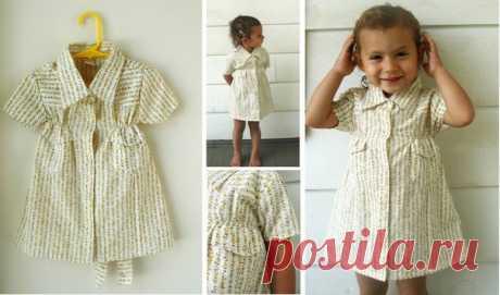 Папина рубашка превращается … в платьице для доченьки! — Рукоделие