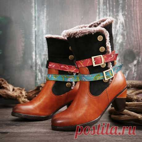 SOCOFY Retro Warm Cozy Fur Colorful Buckle Strap Stylish Winter Ankle Boots - US$80.99