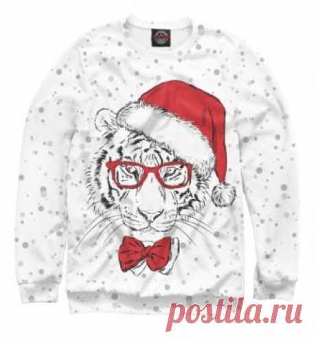 Новогодний свитшот Тигр Санта Клаус
