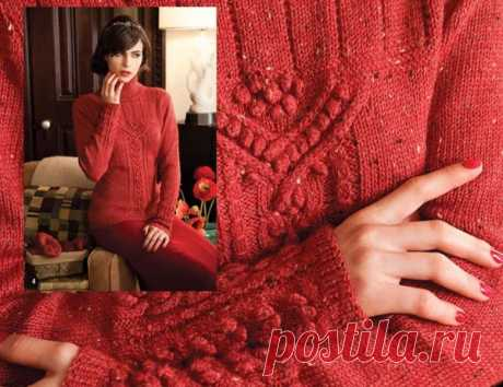 Вязаный спицами пуловер c шишечками и косами из Vogue  Вязаный спицами приталенный свитер с передней панелью из кос и шишечек, с узорными манжетами. Великолепно смотрится из твидовой пряжи.  Размеры S (M) L (XL)  Окончательные замеры свитера  в окр. груди - 85 (89) 96,5 (101,5) см  длина - 61,5 (63) 64 (65,5) см  длина рукава от подмышки - 32 (33) 35 (37) см  Для вязание пуловера спицами потребуется:  400 (400) 450 (500) г. пряжи Knit One Crochet Too Elfin Tweed (60% мерин...