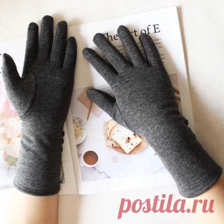 Женские Длинные хлопковые перчатки с цветным сенсорным экраном, вязаные бархатные плотные рукава, сохраняющие тепло Осенние варежки   Женские перчатки  