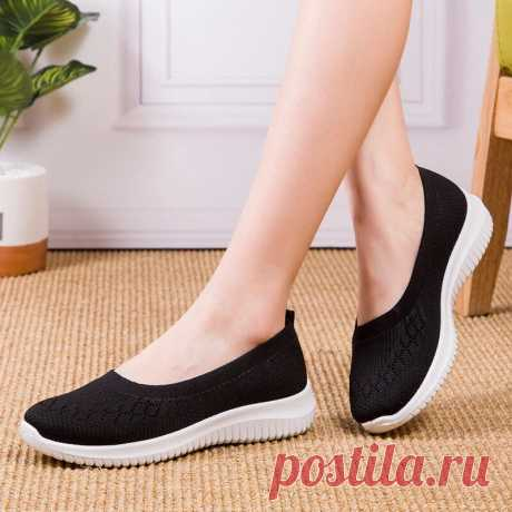 Women Mesh Breathable Easy Slip On Lazy Casual Flat Walking Shoes - US$23.99