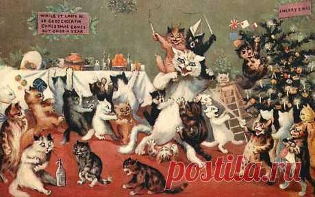 Новогодние коты Луиса Уэйна | Арт с котом | Яндекс Дзен