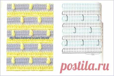 Образцы и схемы двухцветных узоров крючком