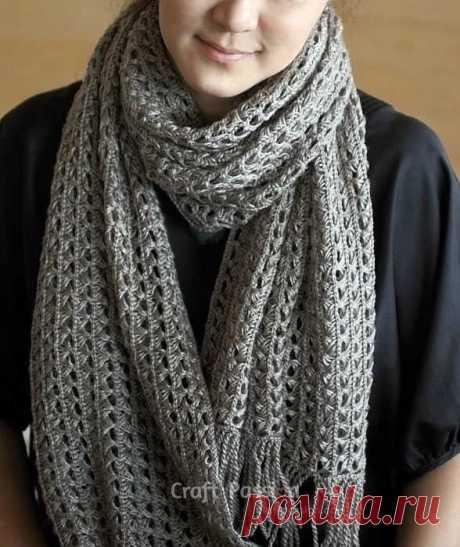 Ажурный шарф перуанским узором Брумстик (Вязание крючком) | Журнал Вдохновение Рукодельницы