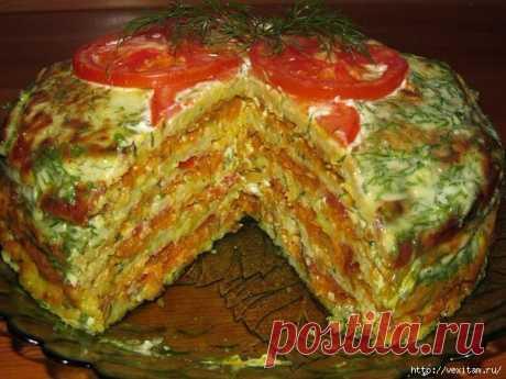 Кабачковый торт с начинкой из помидор и сыра