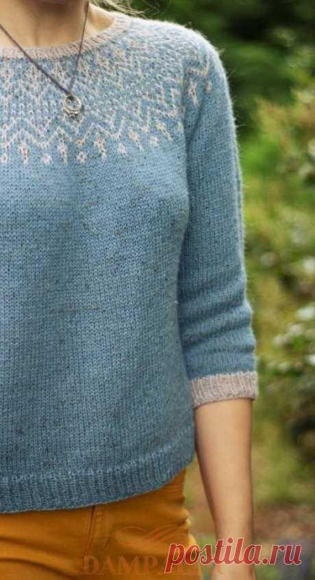 Голубой пуловер с круглой кокеткой | DAMские PALьчики. ru