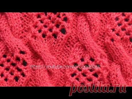 Вязание ажурного узора спицами. Косы с ажурными вставками.  Knitting(Hobby)