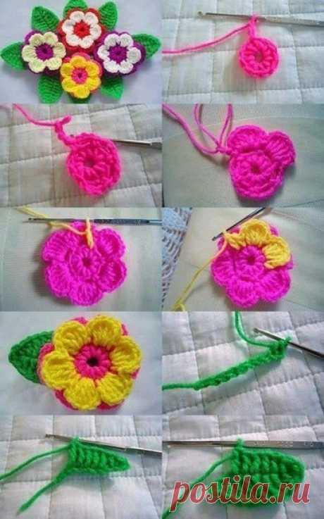 Подборка схем для вязаных цветочков