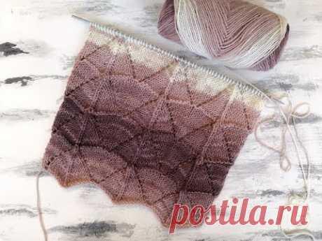 Красивый ажурный узор спицами для вязания маек, джемперов, кардиганов