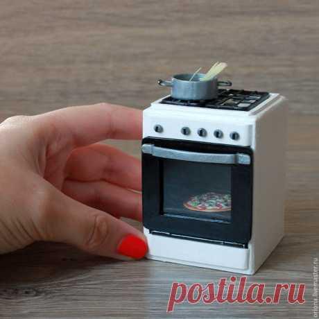 Делаем из полимерной глины и картона миниатюрную газовую плиту для кукольного домика: видео мастер-класс – Ярмарка Мастеров