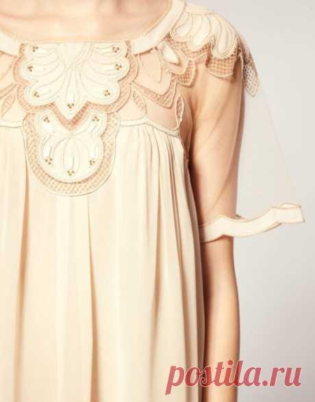 Разнофактурное платье с аппликацией / Аппликации / Модный сайт о стильной переделке одежды и интерьера