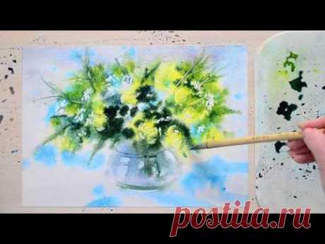 Рисование по мокрому: букет цветов акварелью