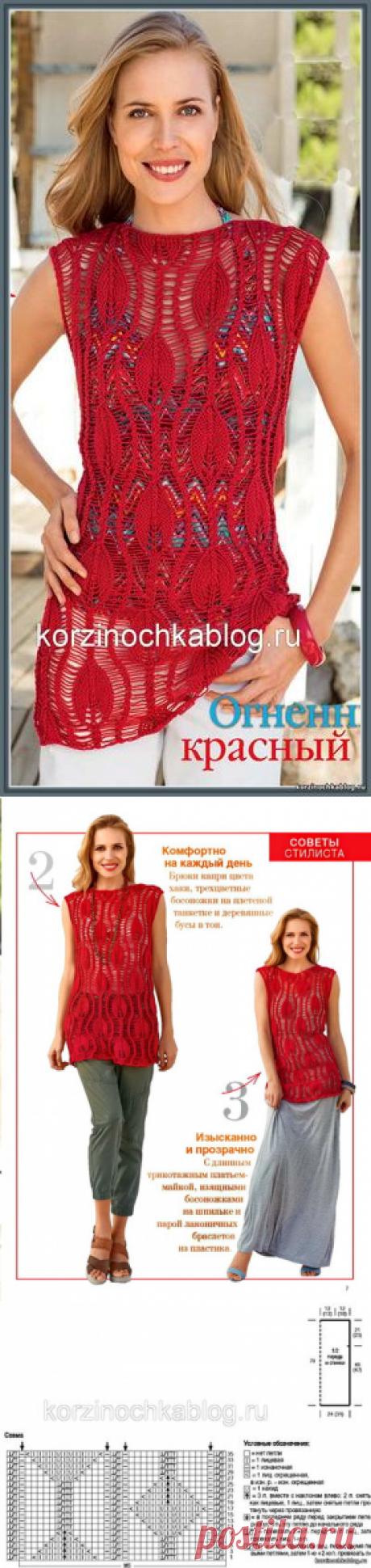 Огненно-красная вязаная спицами туника - 8 Марта 2017 - Вязание спицами, модели и схемы для вязания на спицах