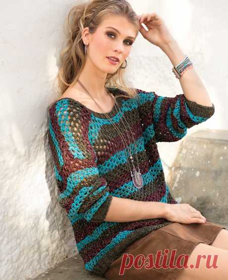 Jumper in a strip with a mesh pattern - the scheme of knitting by spokes. We knit Jumpers on Verena.ru