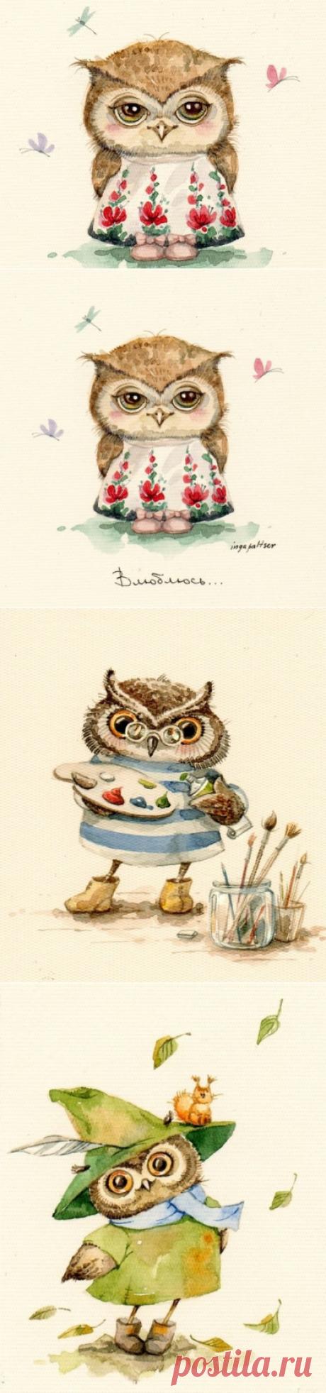 Touching drawings of owls from Inga Paltser