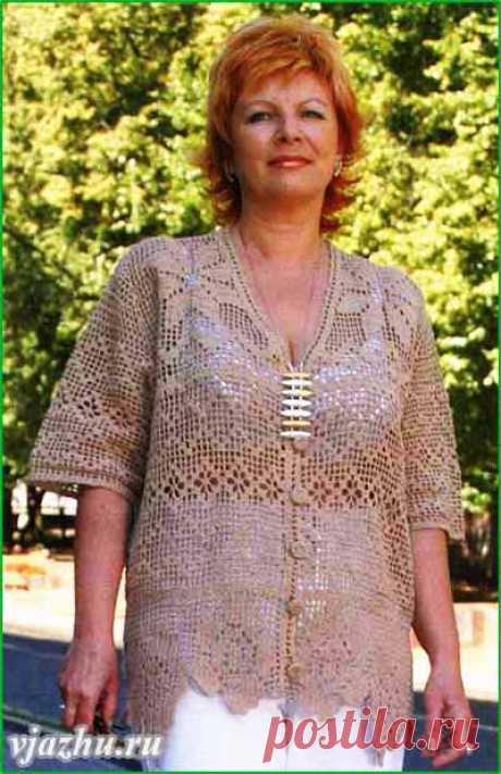 Жакет (филейное вязание) для полных женщин