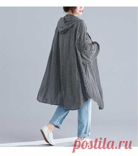 Black grid Autumn Casual Lady Long Sleeve Big Size Female Loose Cotton - idetsnkf
