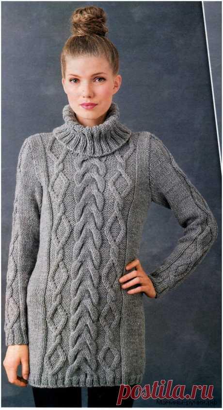 Вязаный спицами свитер с косами. Схемы и описание - Мамины ручки