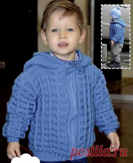 Jacket with a hood for the boy.