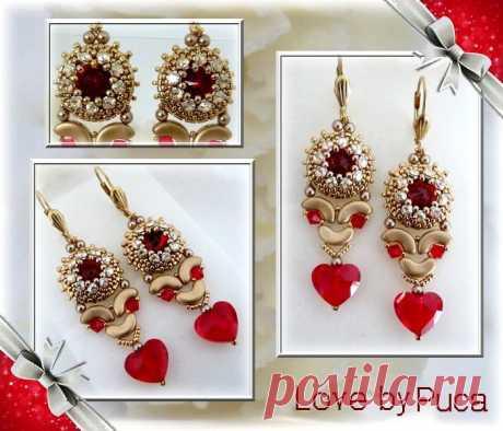 Boucles d'oreilles en perles Arcos® et perles Swarovski par Puca® Khéops®, Arcos®, Minos® et Ios®...les perles de Puca® se connectent ensemble, s'emboitent à la perfection l'une dans l'