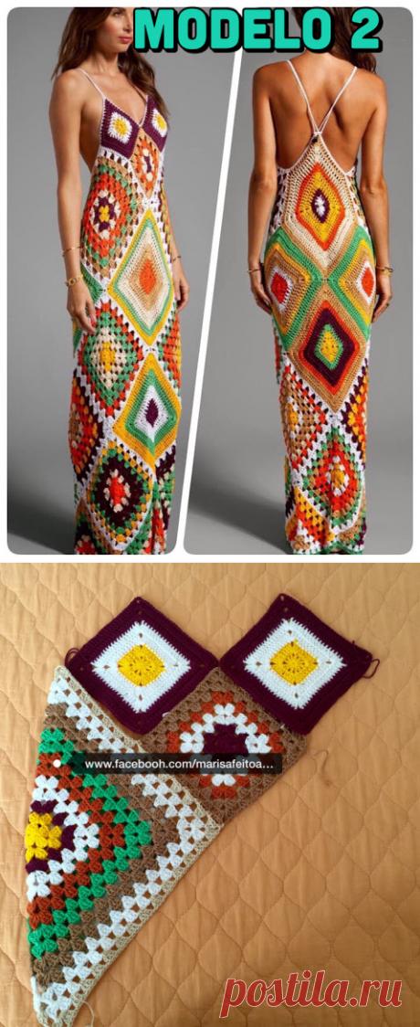 Платья из бабушкиных квадратов