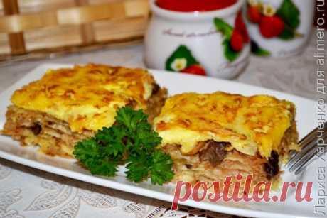 Пирог из лаваша с капустой и белыми грибами