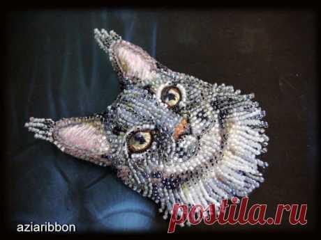Мастер-класс смотреть онлайн: Вышиваем бисером брошь-котика | Журнал Ярмарки Мастеров