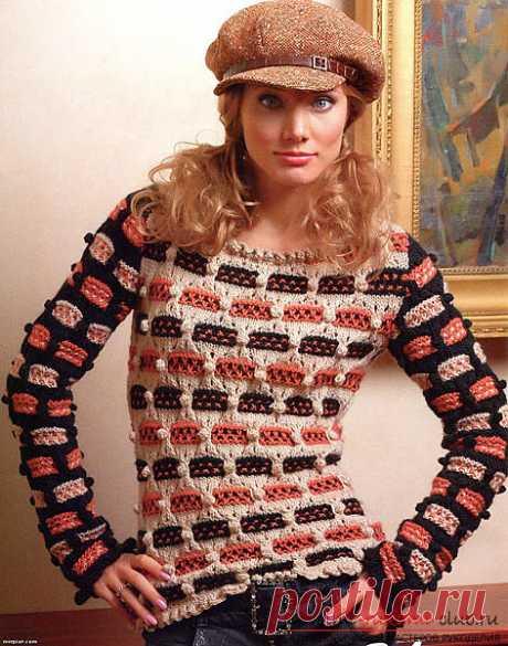 Вязание спицами креативного свитера для женщин. Схема с фото и описанием для начинающих