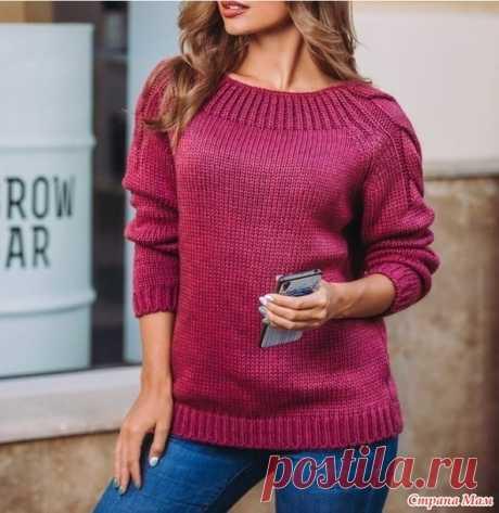 Пуловер-реглан спицами. Полное описание вязания