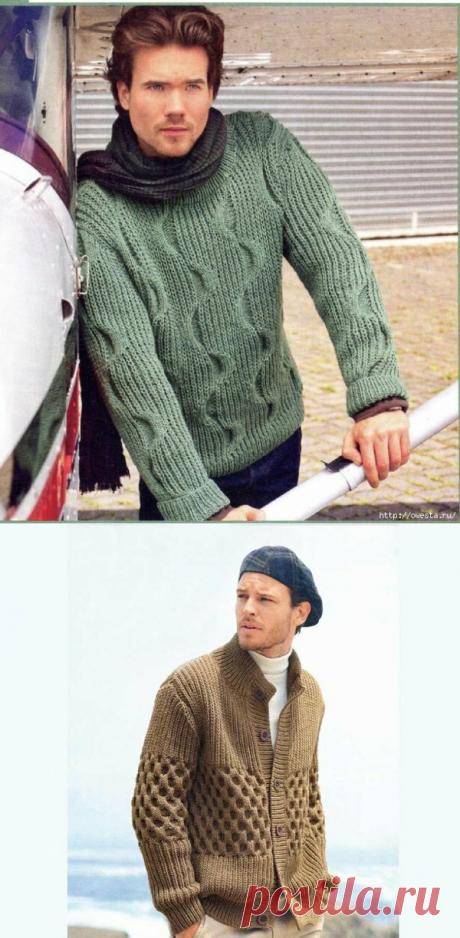 А не связать ли мужу подарок к Новому году? Вязаные мужские свитера со схемами и описанием | Тепло о вязании | Яндекс Дзен