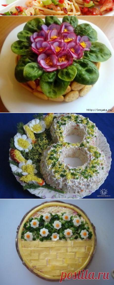 Оформление салатов к 8 марта - пошаговый фото рецептКулинарные рецепты