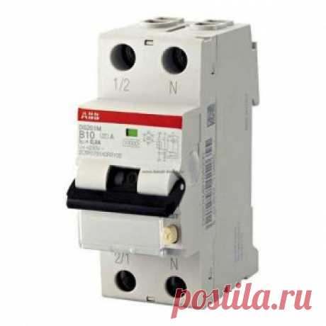Дифференциальный автомат DS201M, 1P+N, 10А (C), 10кА, 30мА (AC) ABB (АББ) - Дифференциальные автоматы - Электрика