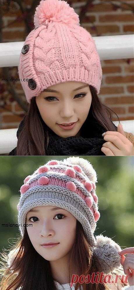 Модные шапки (вязание спицами)