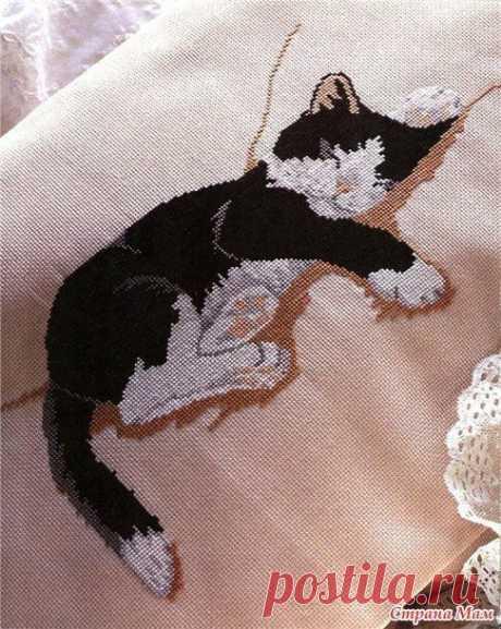 Изумительная вышивка кота