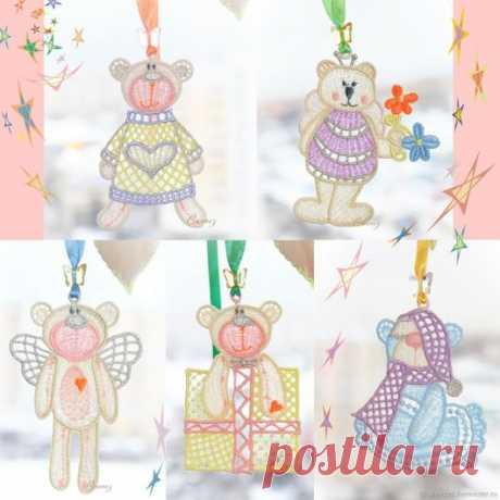 Купить Медвежата вышивка FSL Интерьерные игрушки Комплект для мобиля - елочные игрушки, вышитые игрушки