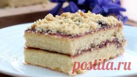 Песочное пирожное с повидлом! Рецепт простой, а вкус незабываем!