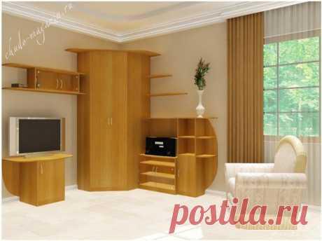 Небольшие стенки с угловым шкафом в зал для одежды; фото, дизайн