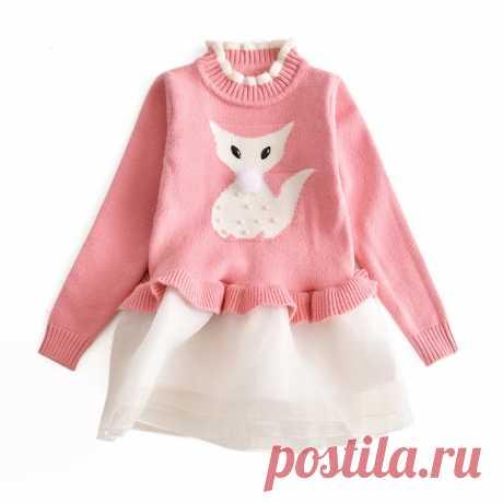 Платье для девочек с рисунком лисы, вязаное шифоновое платье, осенне зимняя детская одежда, детская одежда, весеннее платье для девочек, платье для свадебной вечеринки купить на AliExpress