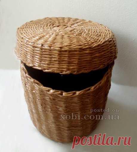 Плетеный короб с крышкой