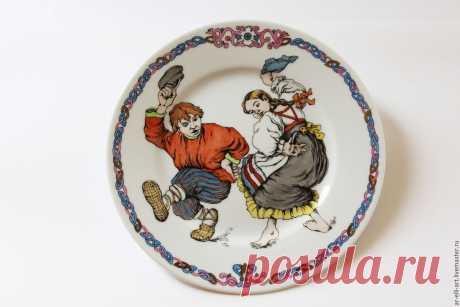 """Купить Фарфоровая тарелка """"Камаринский"""" - комбинированный, фарфоровая тарелка, фарфоровая посуда, роспись по фарфору"""