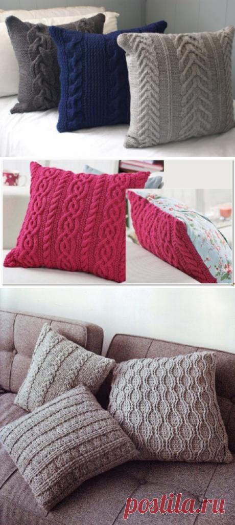 Как связать наволочку на подушку спицами, схема, фото?