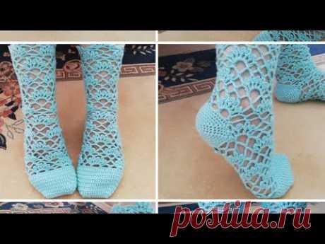 Ажурные носочки крючком, часть 2 (финал)