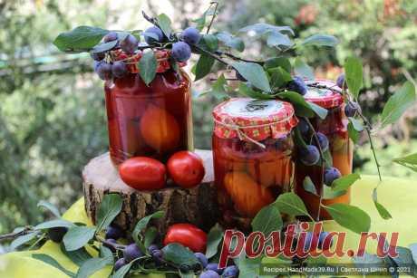 Помидоры со сливами – пошаговый кулинарный рецепт маринования Маринованные помидоры со сливами – пошаговый рецепт с фото. Как вкусно и просто заготовить помидоры на зиму. Оригинальные заготовки. Русская кухня