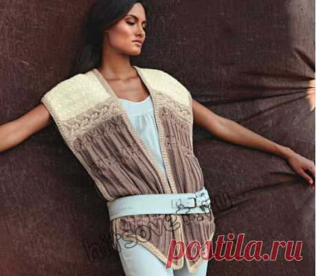 Женский модный жилет - Хитсовет Вязание спицами для женщин модного жилета со схемами и пошаговым бесплатным описанием .