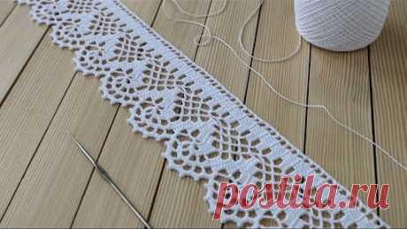 ЛЕНТОЧНОЕ КРУЖЕВО вязание крючком КАЙМА мастер-класс СХЕМА ВЯЗАНИЯ Crochet Tape Lace Tutorial
