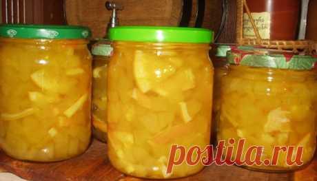 Варенье из кабачков с лимоном Ингредиенты: 1 кг кабачков 1 лимон (крупный) 800 гр сахара