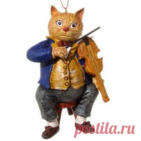 Vintage Christmas Tree Ornament Fiddler Cat, 9 cm, Pendant (ShiShi) Vintage Christmas Tree Ornament Fiddler Cat, 9 cm, Pendant (ShiShi)  Article: ID40750  Country: Estonia  Production: China  Just as the violin is always the soloist in the orchestra, so purrs are clearly favored by their owners among their Pets...